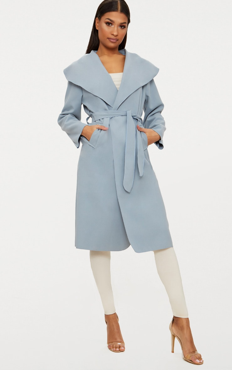 Veronica Powder Blue Oversized Waterfall Belt Coat 1
