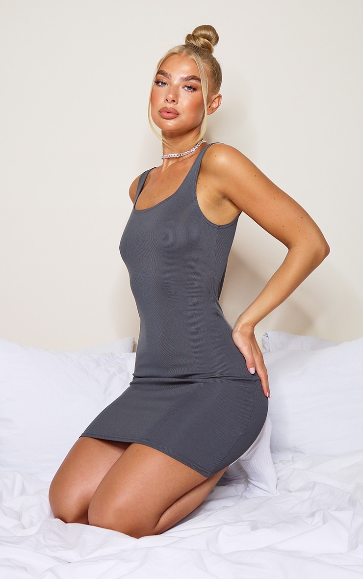 Grey Ribbed Scoop Neck Bodycon Dress 3