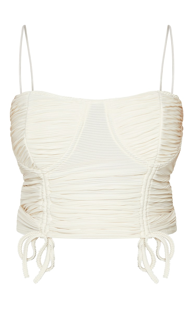 Plus Cream Cup Detail Ruched Corset Top 5