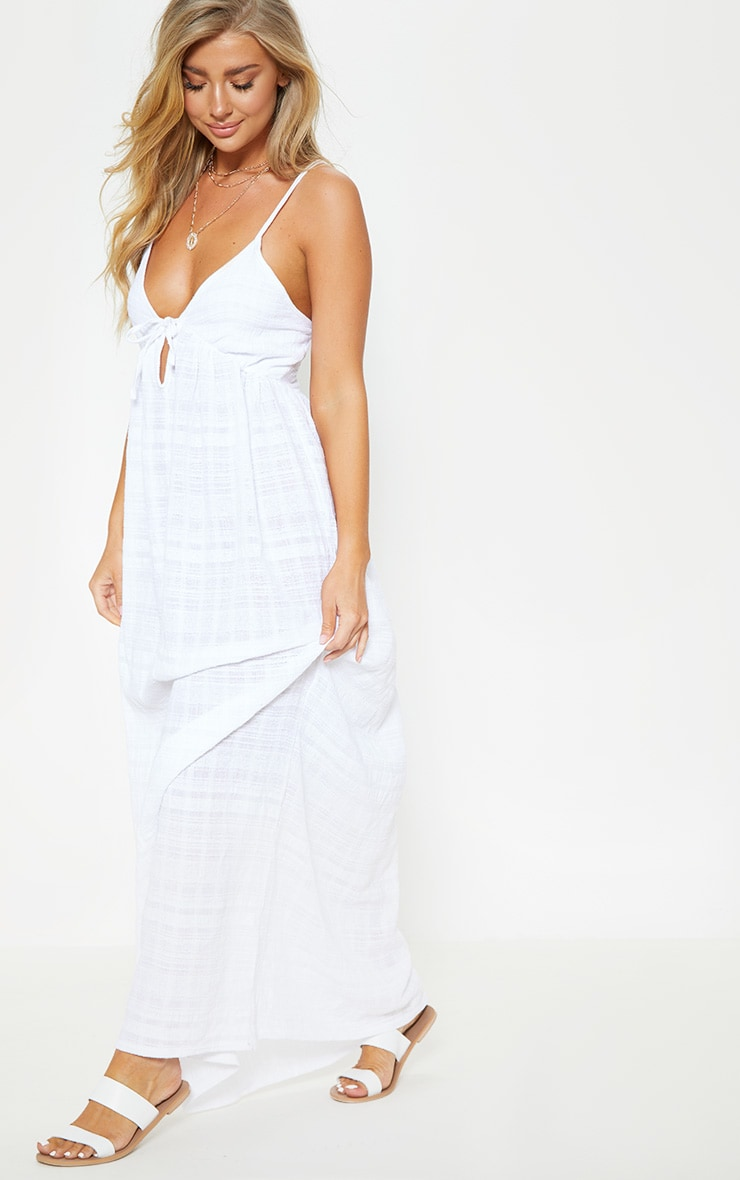 White Textured Cotton Beach Maxi Dress 4