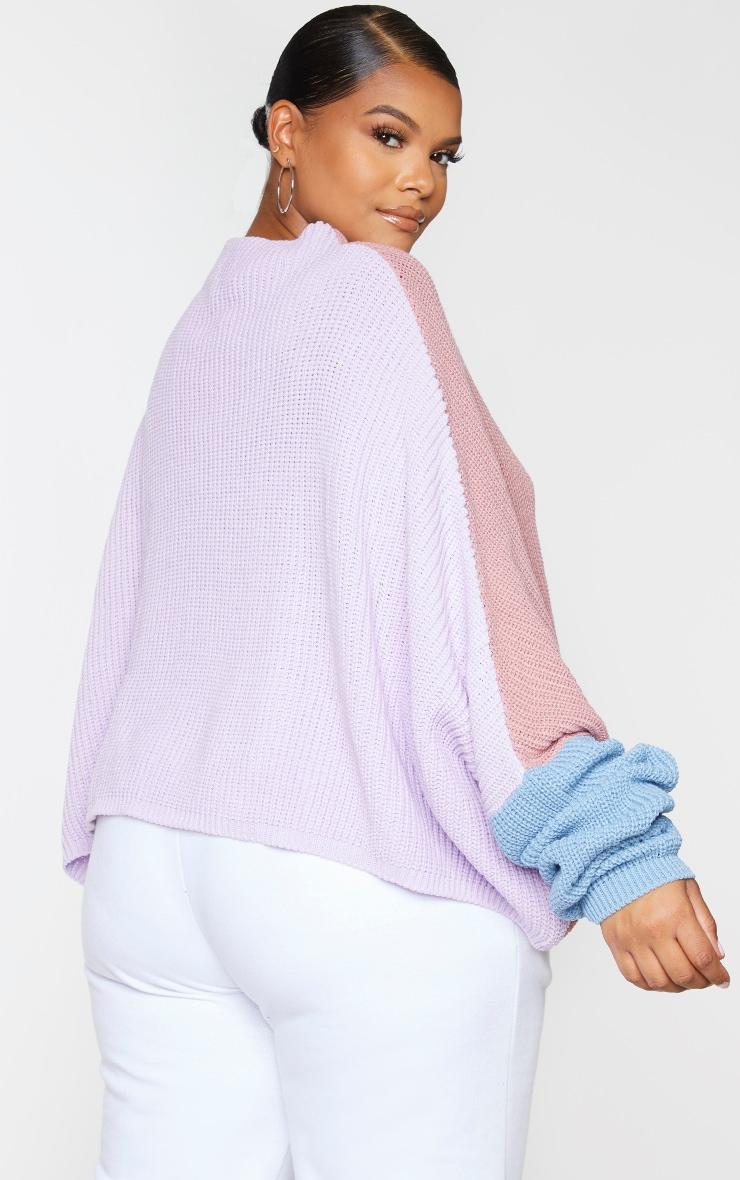 Plus Pink Oversized Colour Block Jumper 2