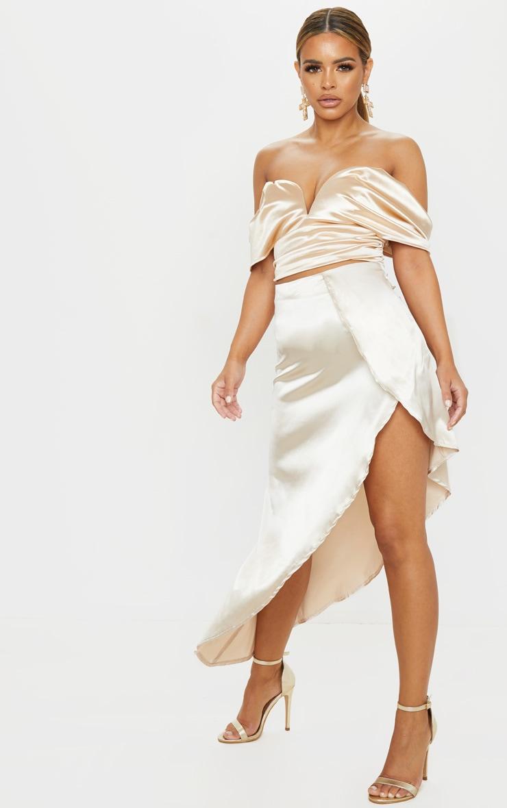 Petite Cream Satin Asymmetric Skirt 1