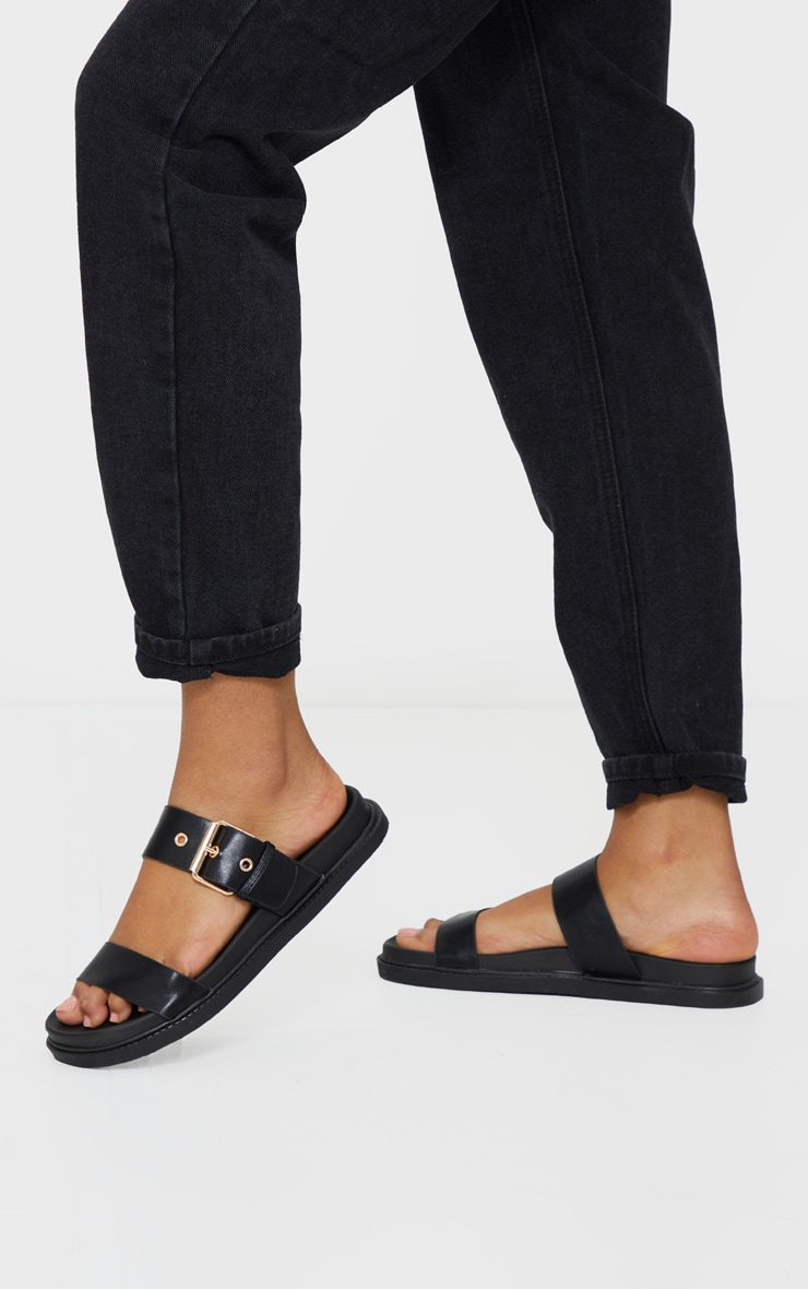 Black Double Strap Sliders 1