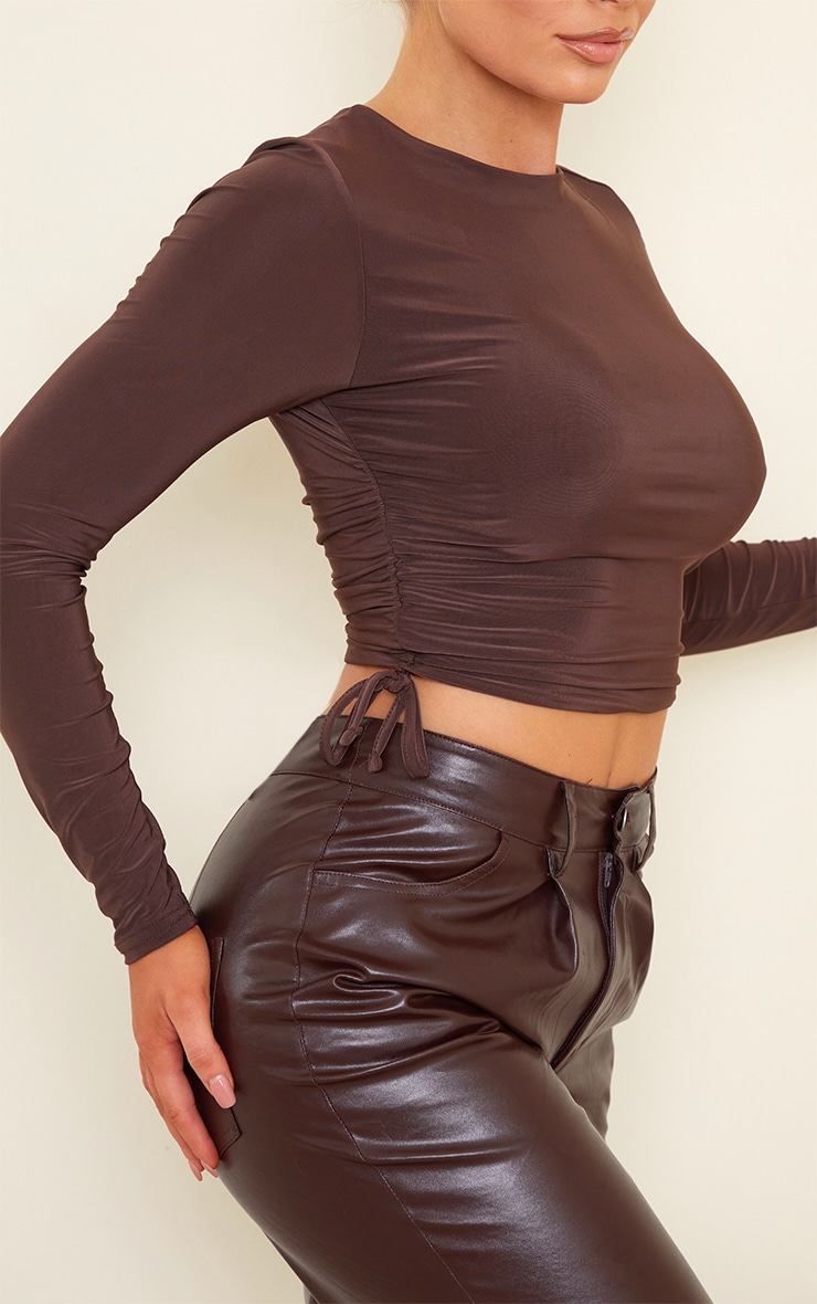 Chocolate Slinky Ruched Side Long Sleeve Top 4