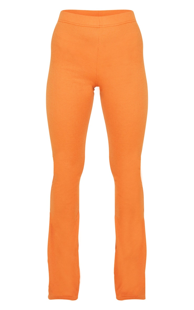 Burnt Orange Ribbed Flared Pants 3