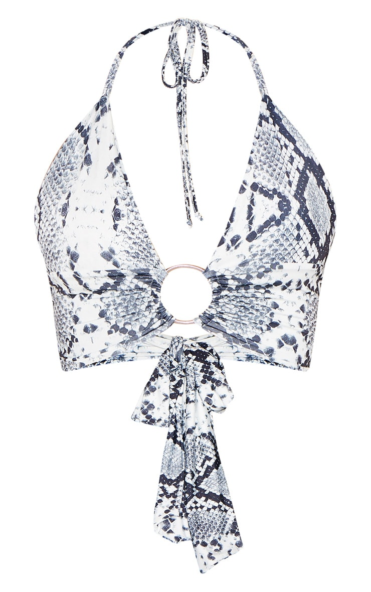Grey Snake Printed Plunge Ring Detail Bralet 1