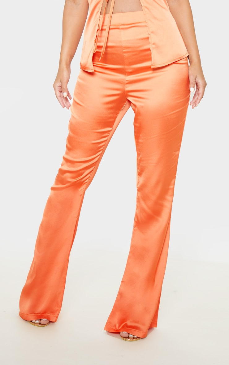 Petite Peach Satin Wide Leg Pants  2