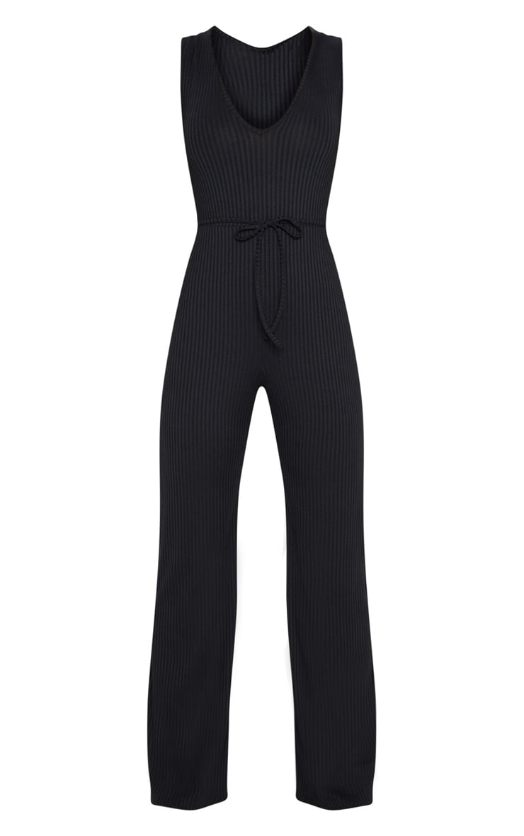 Black Ribbed Tie Waist Wide Leg Jumpsuit 3