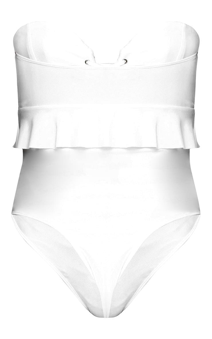 White Bandeau Lace Up Frill Detail Swimsuit 4