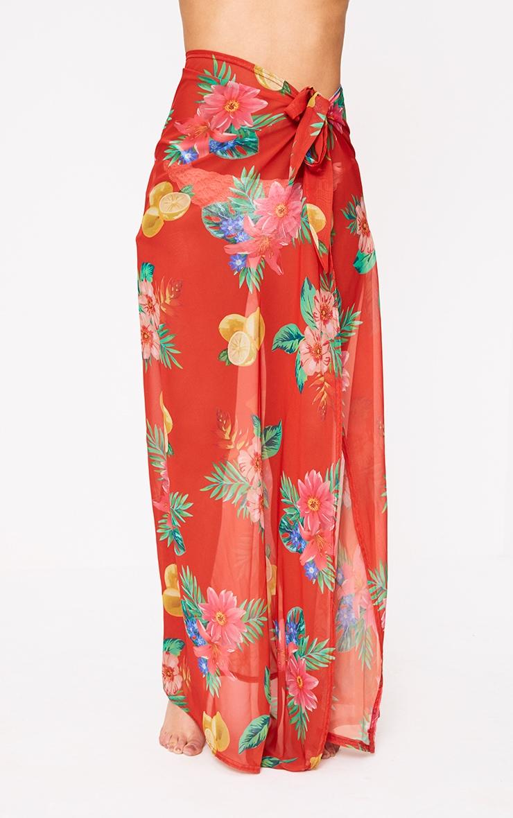 Orange Chiffon Tropical Floral Print Maxi Skirt  2
