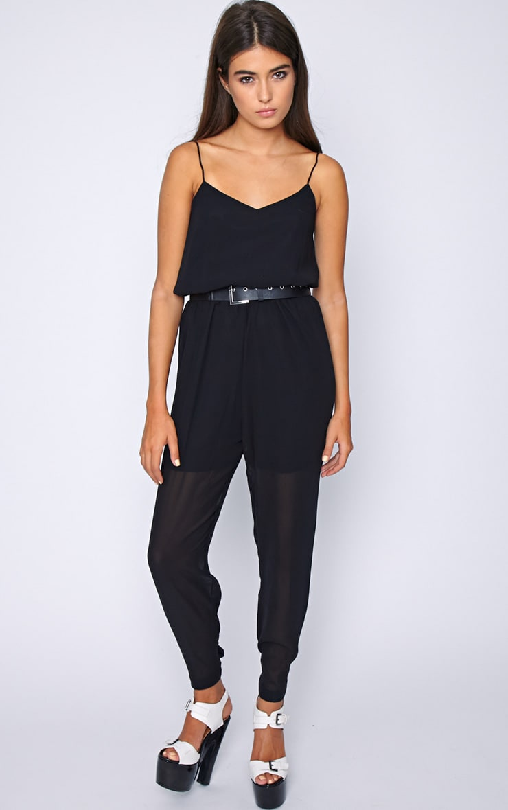 Annabel Black Chiffon Strappy Jumpsuit 3