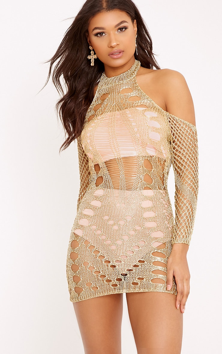Penn Gold Metallic Cobweb Knit Mini Dress 1