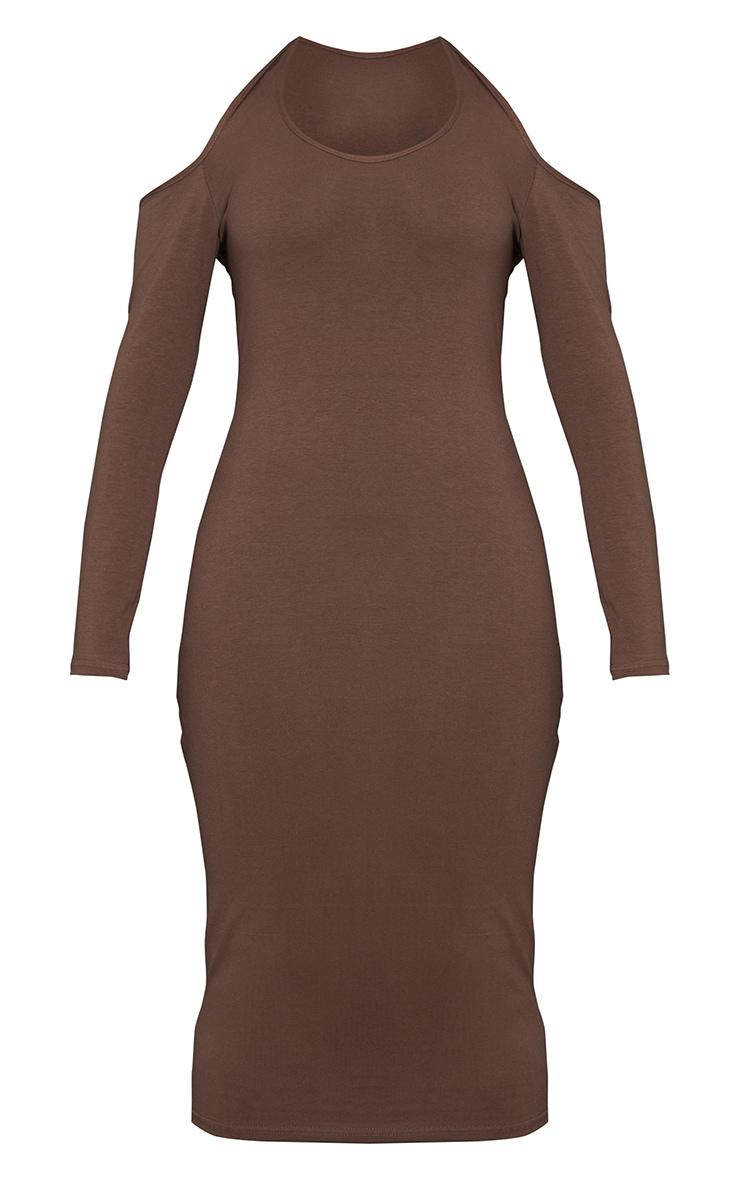 Chocolate Cotton Halterneck Cold Shoulder Long Sleeve Midaxi Dress 5