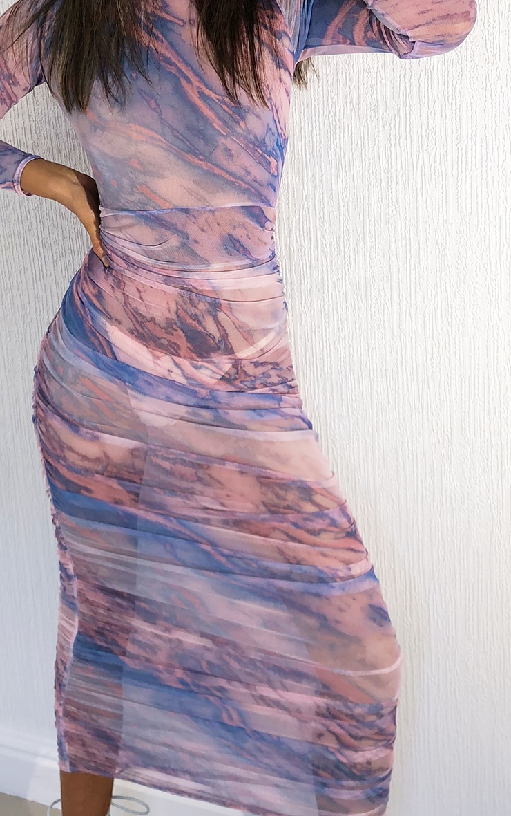 Multi Tie Dye Mesh High Neck Long Sleeve Ruched Midaxi Dress 4