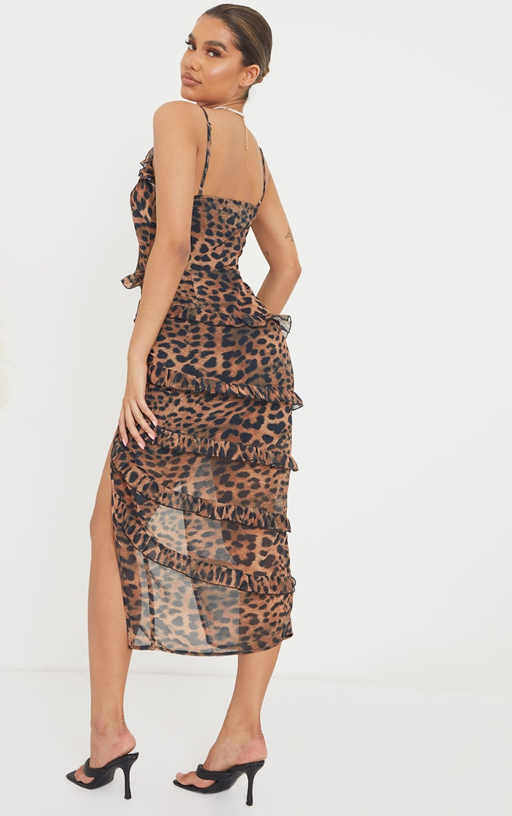 Brown Leopard Print Tiered Ruffle Strappy Midaxi Dress 2