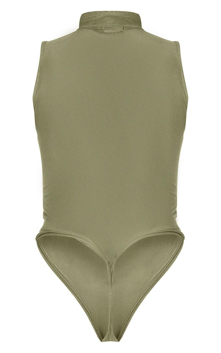 Shape Green Animal Print Mesh Panel Detail Bodysuit 6