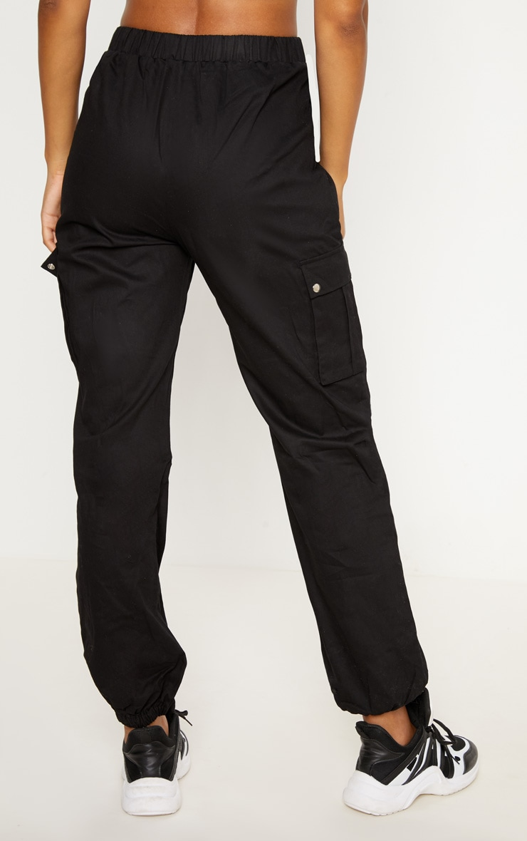 Black Pocket Detail Cargo Trousers 4