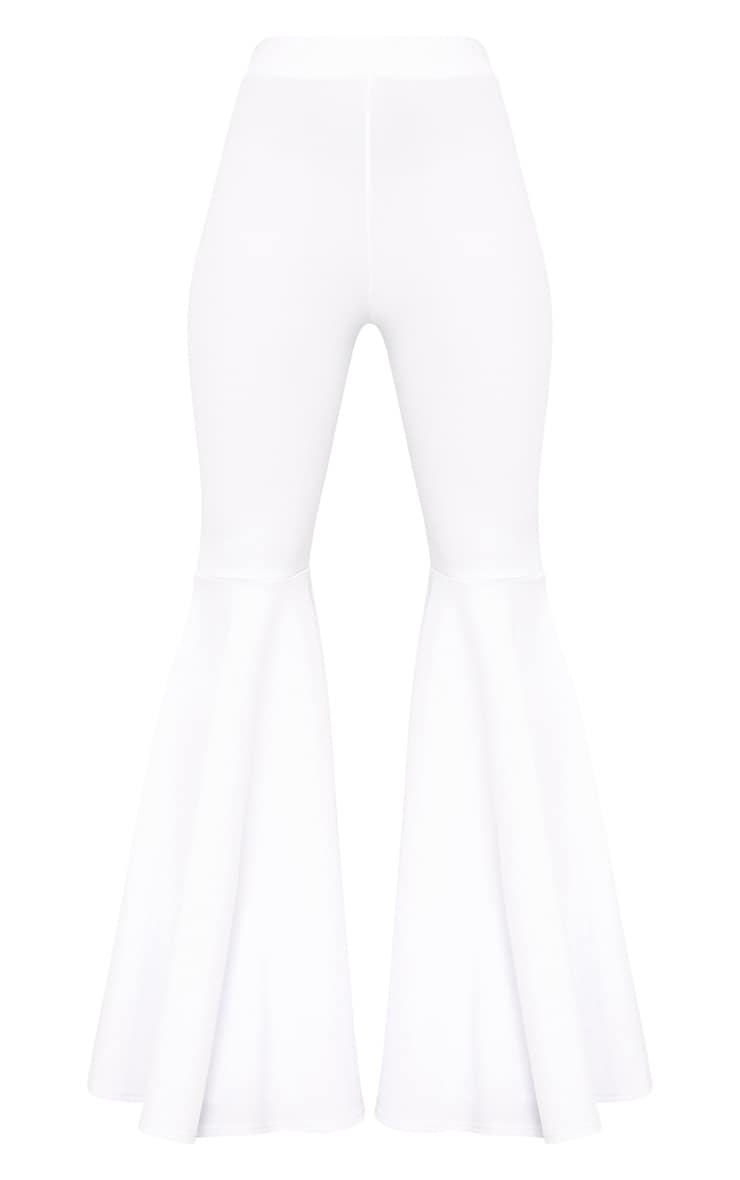 White Extreme Flared Trousers 3