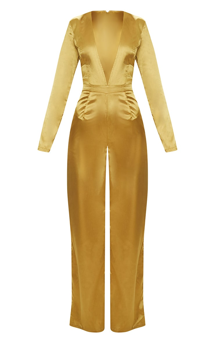 Mustard Satin Plunge Long Sleeve Jumpsuit 3