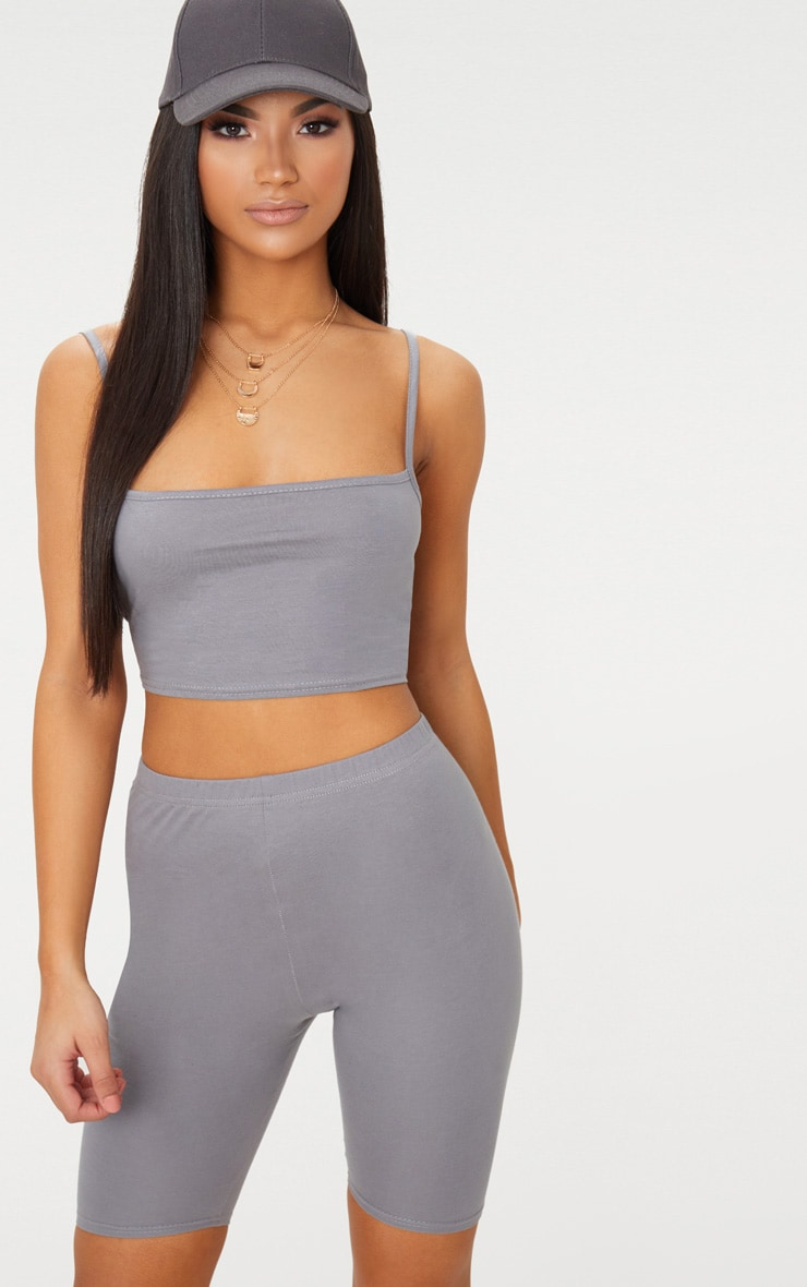 Charcoal Grey Jersey Square Neck Crop Top 2