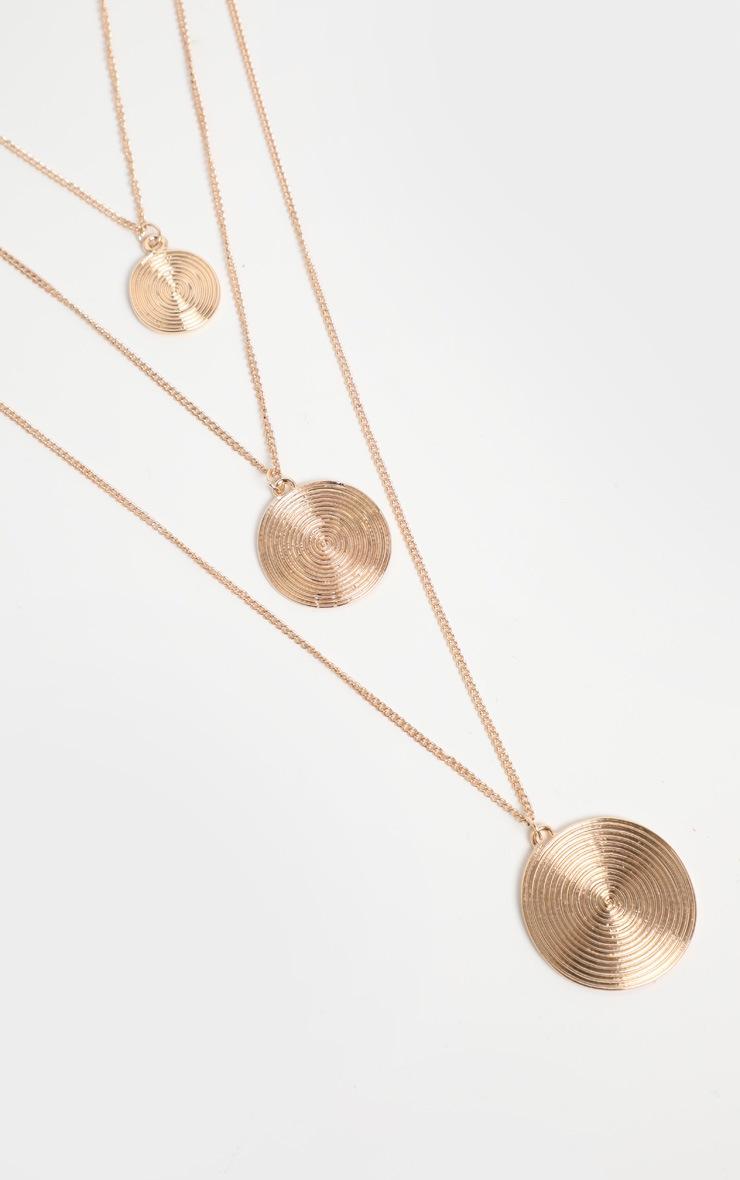 Gold Circular Pendant Drop Necklace 4