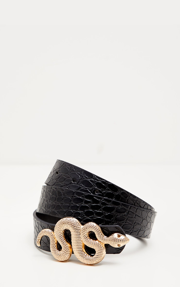 Black Croc Printed Gold Snake Waist Belt 2