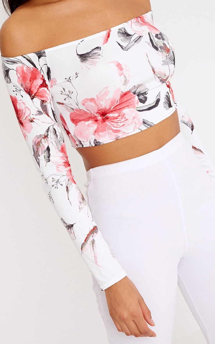 Alivia Pink Floral Slinky Bardot Longsleeve Crop Top  5