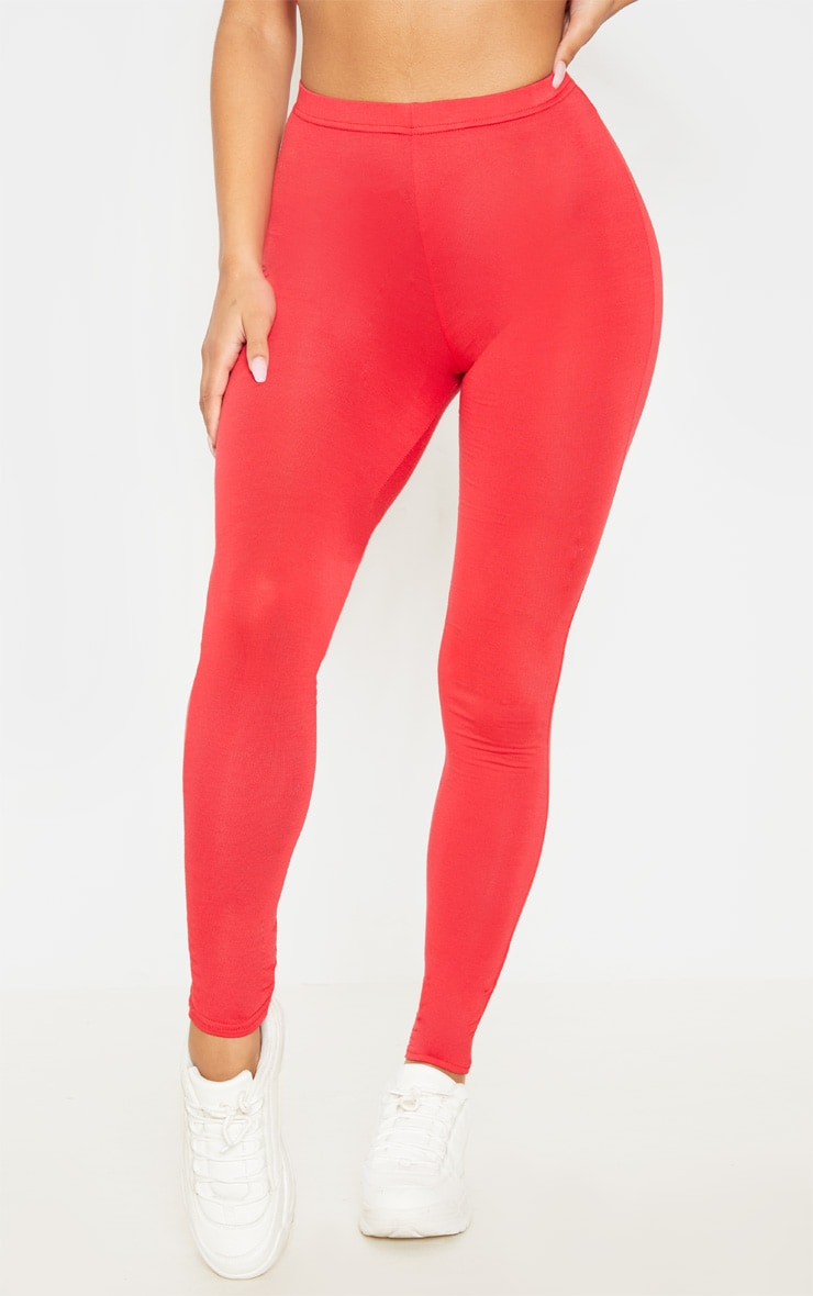 Basic lot de 2 leggings en jersey rouge et camel 2