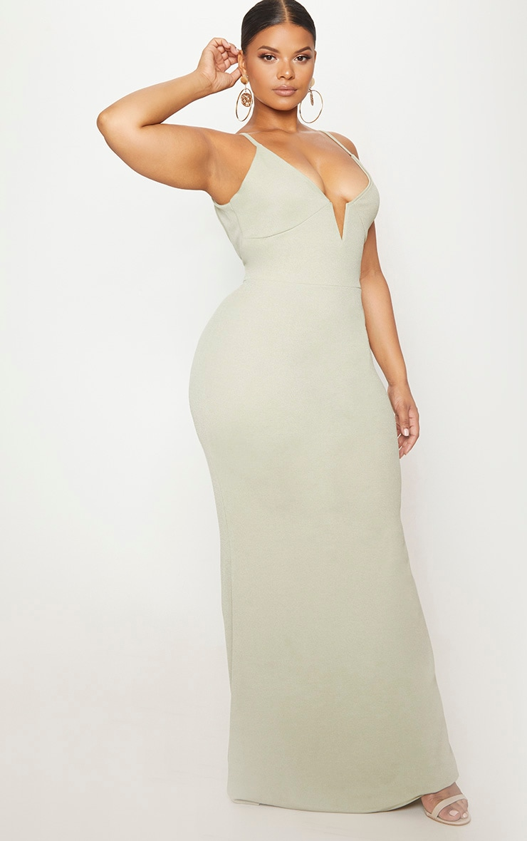Black Sage Green V Bar Backless Maxi Dress 4