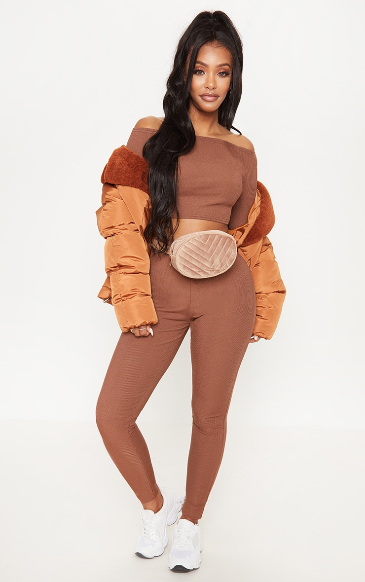 Shape Chocolate Brown Ribbed Bardot Long Sleeve Crop Top 4