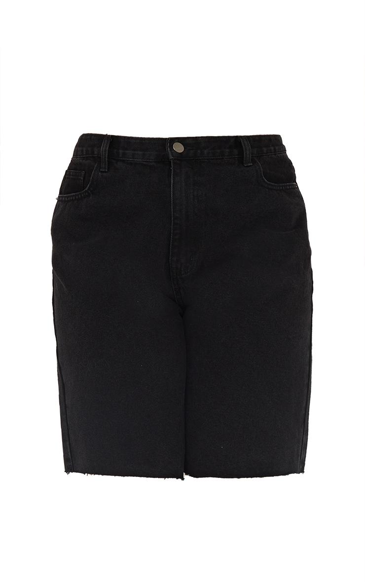 PRETTYLITTLETHING Plus Washed Black Longline Fitted Denim Shorts 6