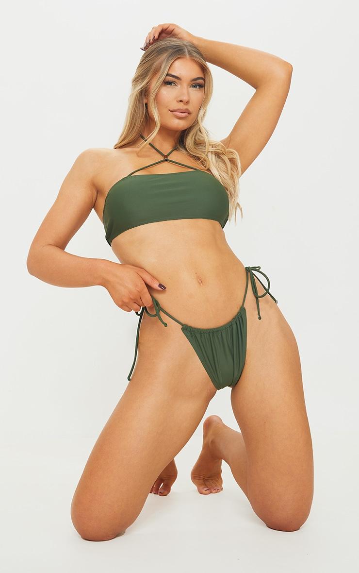 Khaki Ruched Tie Side Bikini Bottom 3