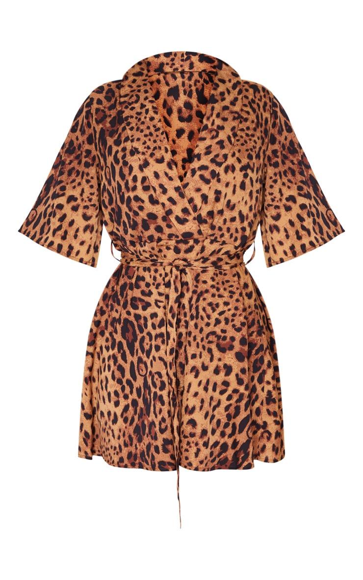 Brown Leopard Print Tea Dress 3