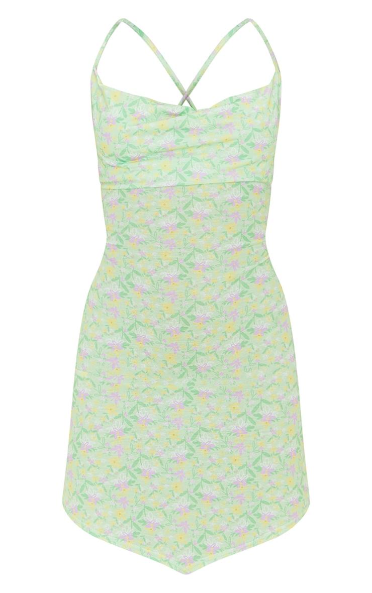 Lime Ditsy Print Lace Up Back Shift Dress 5