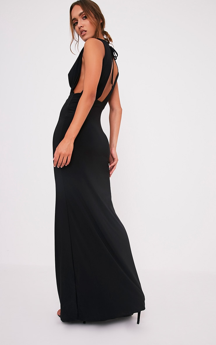 Sharnia Black Slinky Cowl Front Maxi Dress 6
