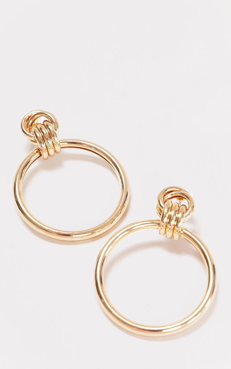 Gold Medium Drop Hoop Earring 2