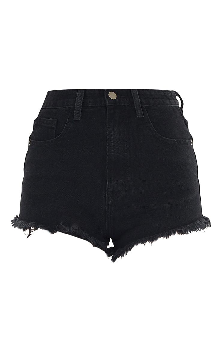 PRETTYLITTLETHING Black Wash Frayed Hem Denim Shorts 6