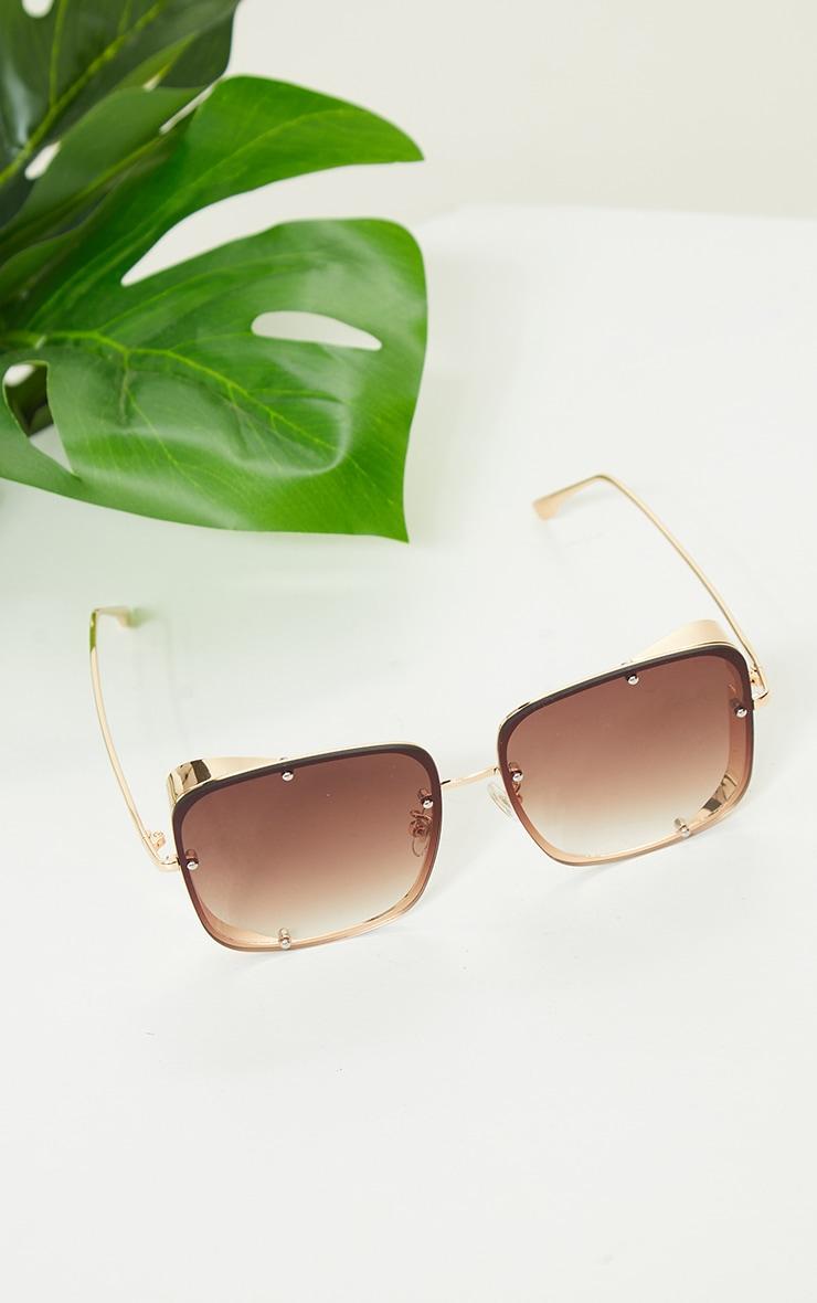 Gold Fade Oversized Square Lenses Frameless Sunglasses 2