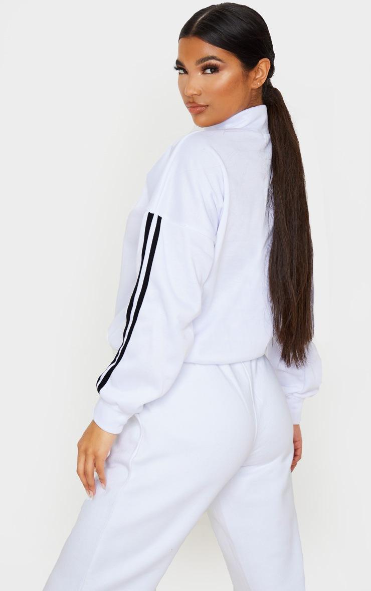 White Apres Ski Zip Front Sweatshirt 2