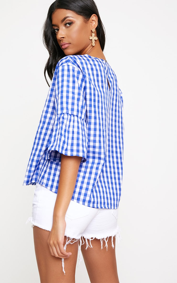 Blue Embroidered Gingham Top 2