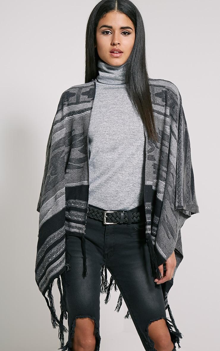 Deni Grey Tribal Knitted Tassel Poncho 4
