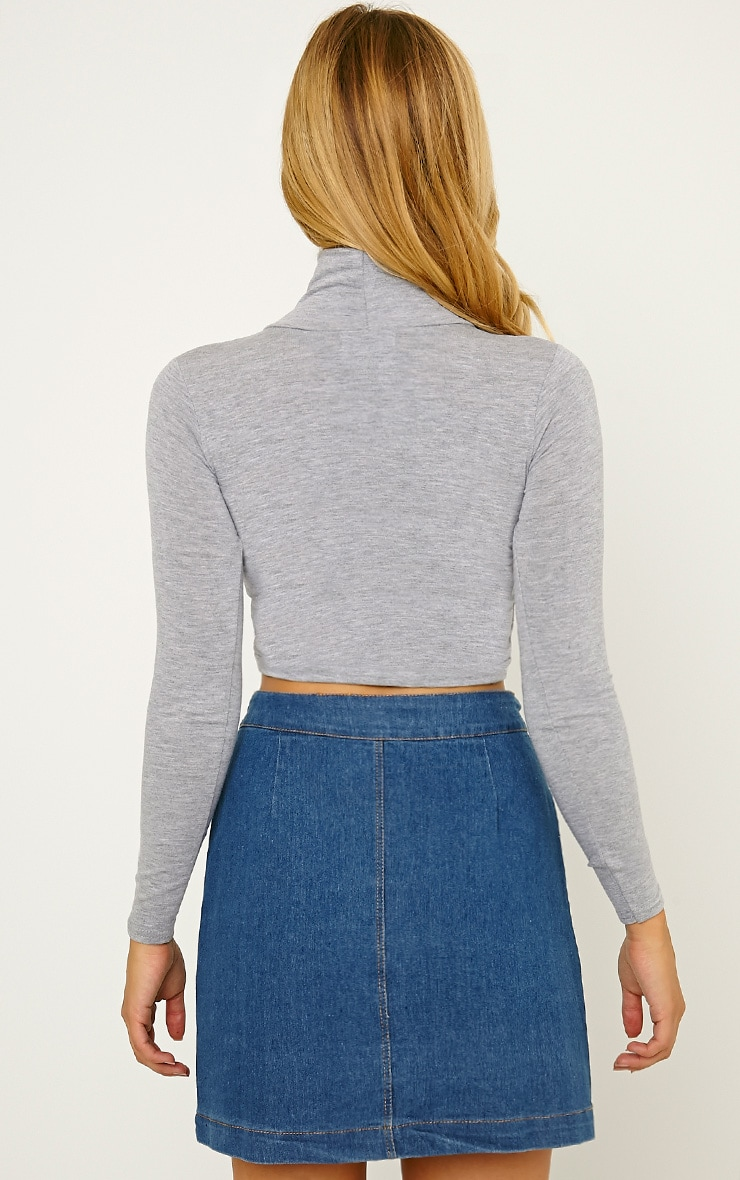 Basic Grey Roll Neck Crop Top 2
