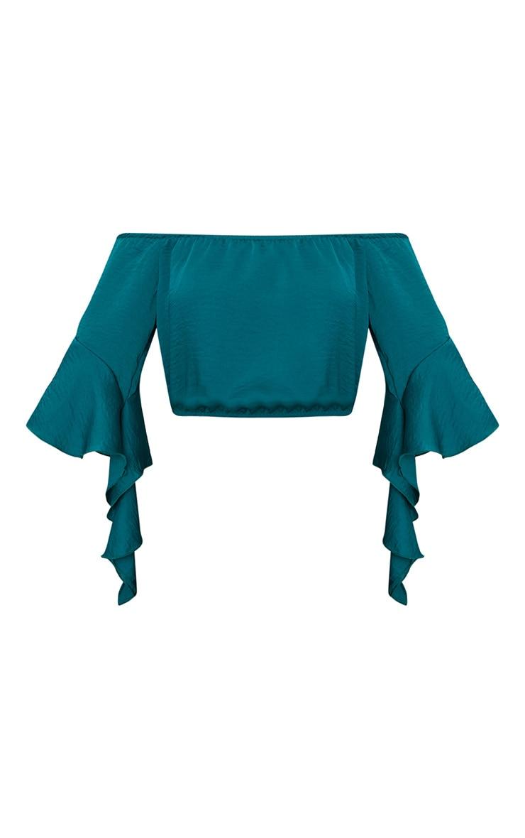 Emerald Green Satin Bardot Frill Sleeve Crop Top 3