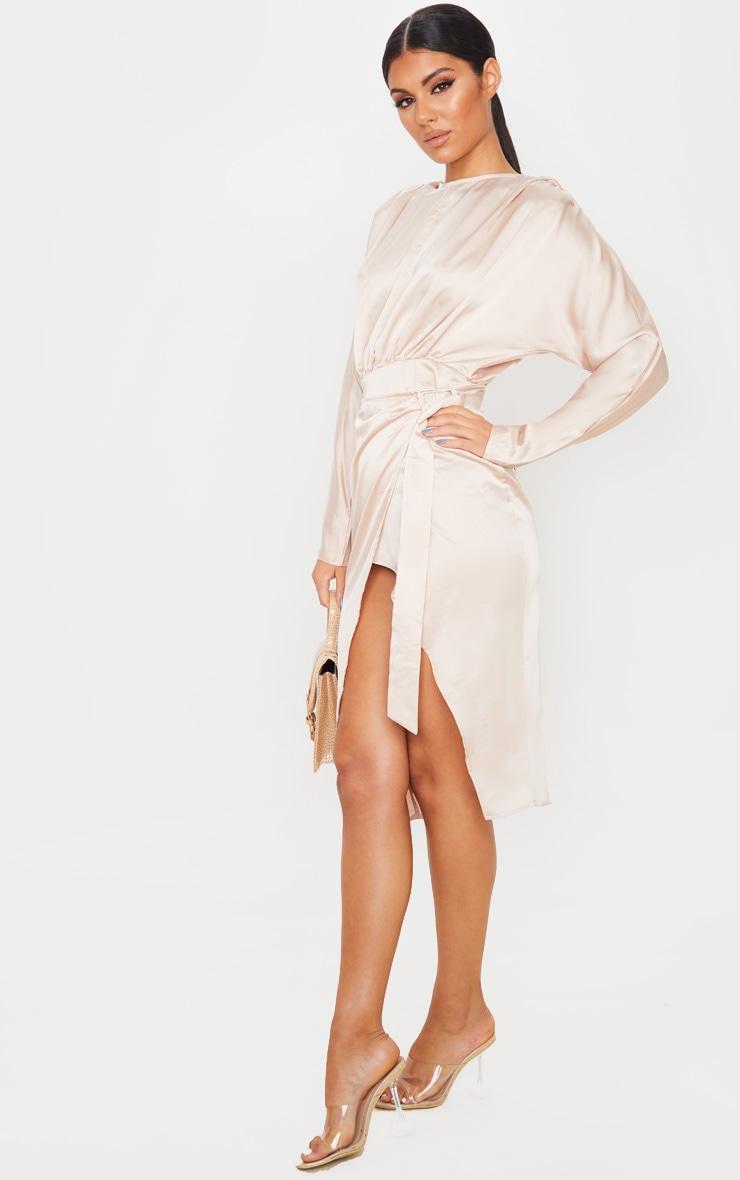 Champagne Satin Wrap Skirt Backless Midi Dress 4