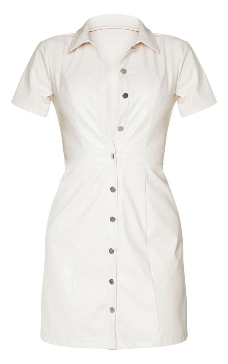 Tall Cream PU Shirt Dress 5