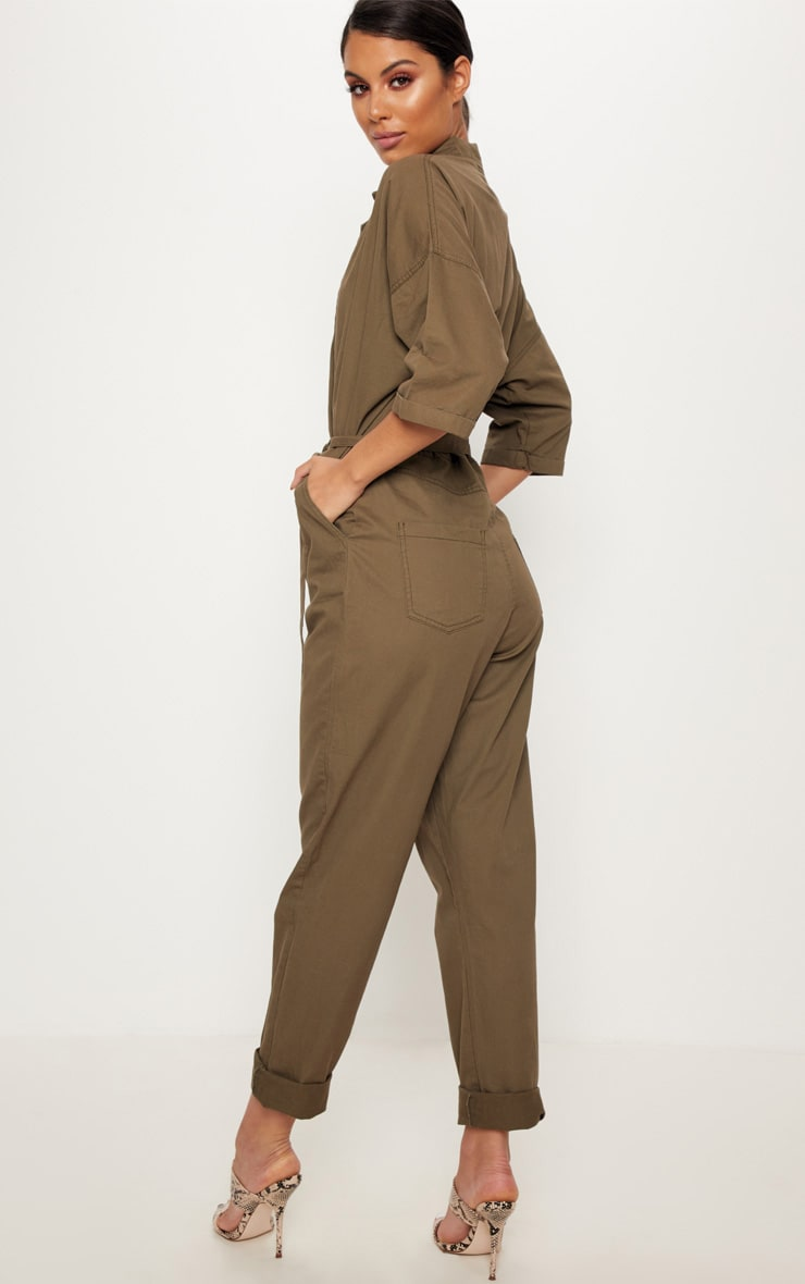 Khaki Denim Utility Jumpsuit  2