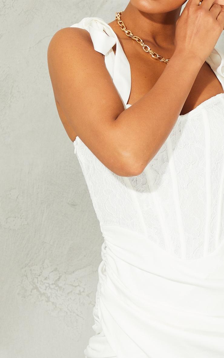 White Lace Corset Detail Wrap Bodycon Dress 4