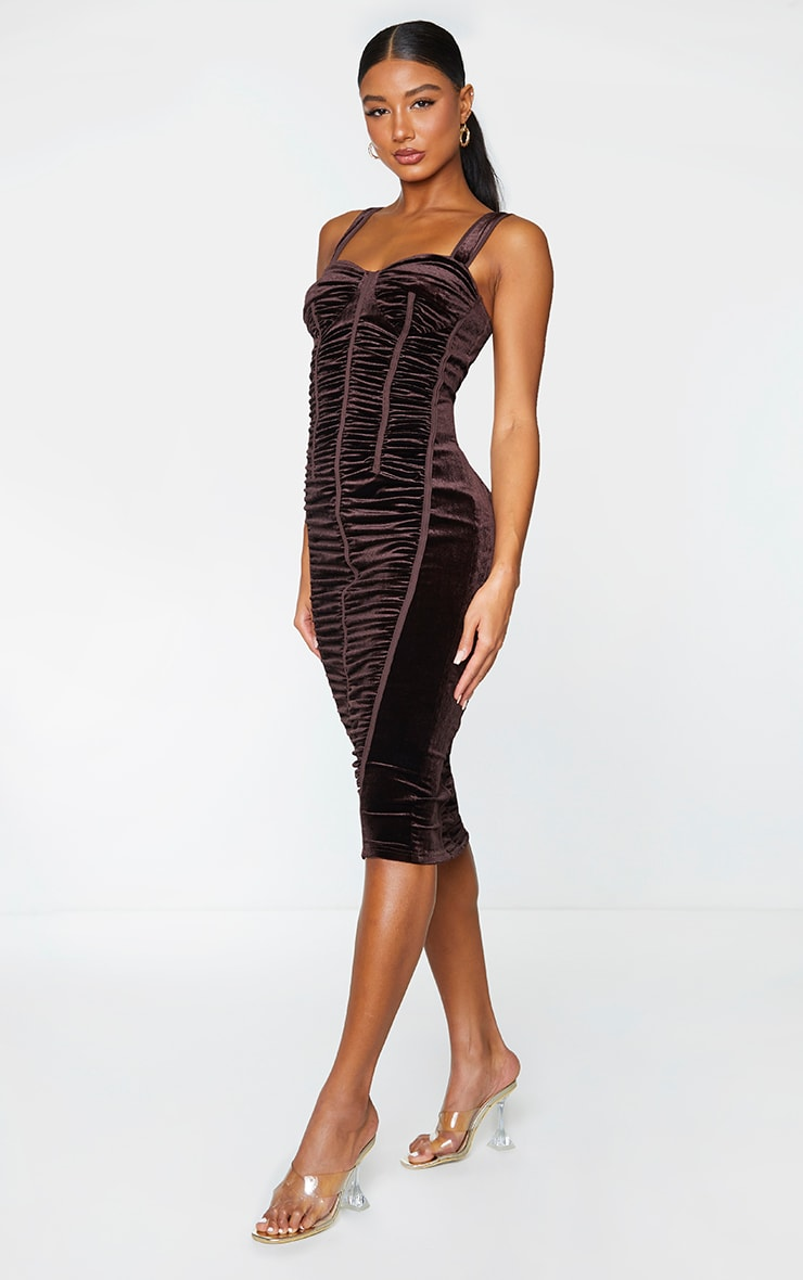 Chocolate Velvet Ruched Corset Detail Sleeveless Midi Dress 3