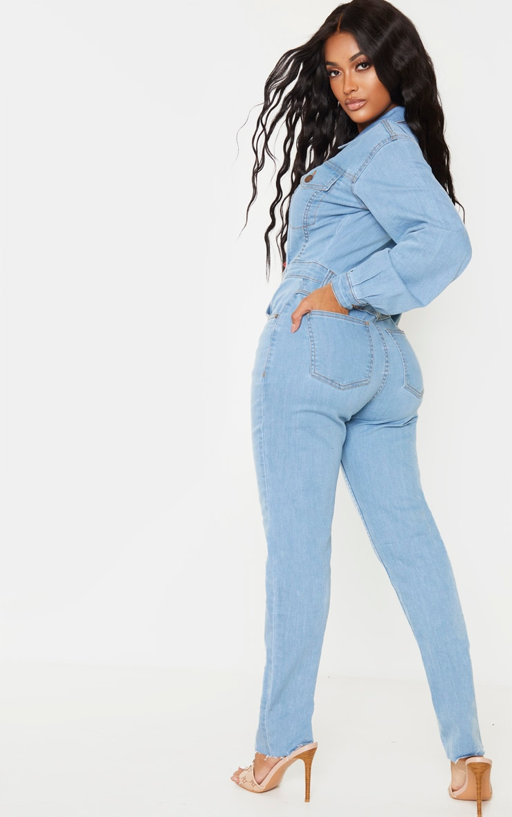 Shape Light Wash Denim Zip Front Jumpsuit 2