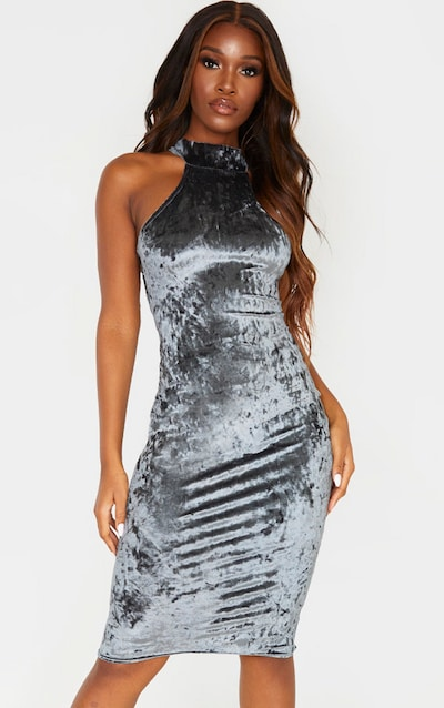 Grey Crushed Velvet Racer Neck Midi Dress